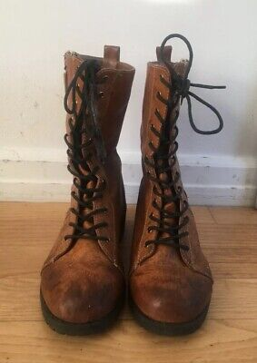 1981091a90022 SEVEN7 WOMENS COMBAT Boots  Jackie  Brown Laces Zippers Grunge Sz 8 ...