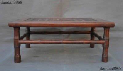 Old China Famous Huanghuali Wood Hand carved 福 Fu Word Statue Table Desk Tables