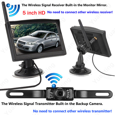 Built-in Wireless Car Cup Suction Monitor+Backup Camera Parking Rear View System