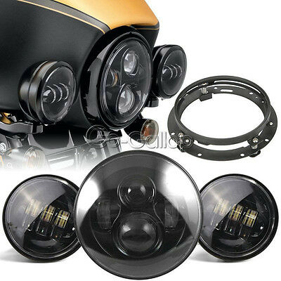 "7"" LED Round Headlight +Passing Lights W/Mounting Fit Harley Electra Glide H4"