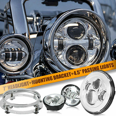 "7"" LED Projector Round Headlight & Passing Light Fit Harley Road King FLHR H4"