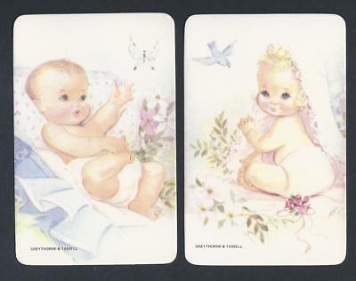 #920.197 Blank Back Swap Cards -MINT pair- Baby with bird & Baby with butterfly