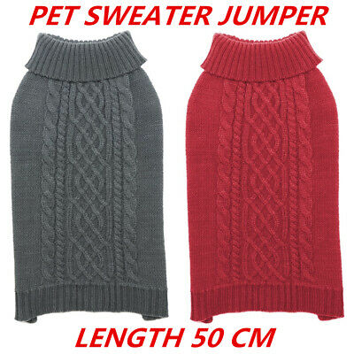 Pet Knitted Sweater Jumper Jacket Dog Puppy Cat Warm Coat Vest Clothes 50cm