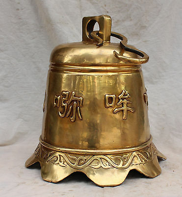 "22"" Huge Chinese Tibet Bronze Tibetan Buddhism Temple Zhong Bell Sculptureac"