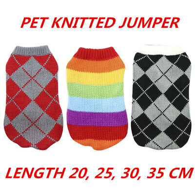 Pet Dog Puppy Cat Kitten Clothing Knitted Sweater Jumper Warm Cute 20/25/30/35cm