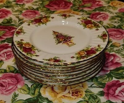 ROYAL ALBERT old country roses CHRISTMAS  accent SALAD PLATES 8 NWT