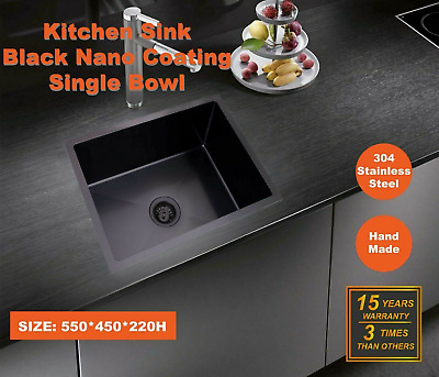 460X460X220 Handmade Stainless Steel Undermount Kitchen Laundry Single bowl sink