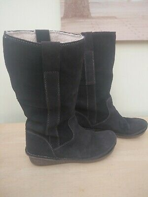 Clarks brow suede calf length boots size uk 7D