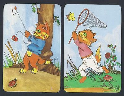 #920.411 Blank Back Swap Cards -MINT pair- Cat fishing & Cat chasing butterfly