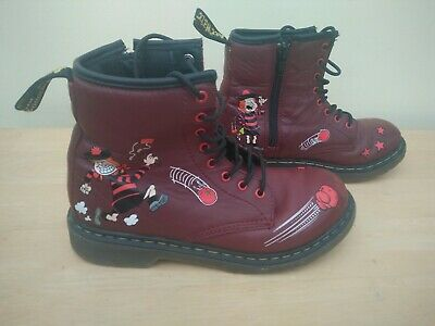 Dr Martens Minnie the Minx cherry red leather ankle boots size uk 2 eu 34