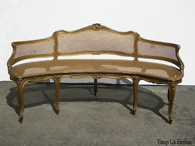Gorgeous Antique French Provincial Louis XVI Rococo Gold Cane Settee ~ Loveseat