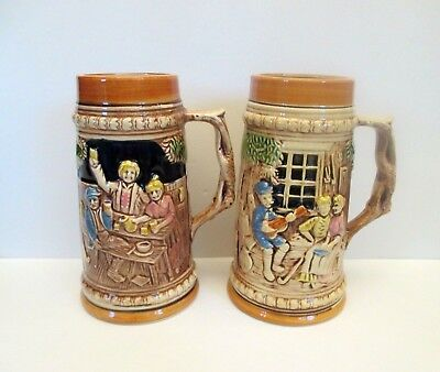 Two Ceramic Drinking Steins, Japan