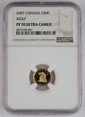 Canada 2007 50 Cents Half Dollar Wolf 1/25 Oz Gold Proof Coin NGC PF70 Ultra Cam