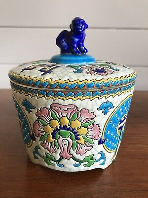 Antique French Longwy Porcelain Lidded Dish