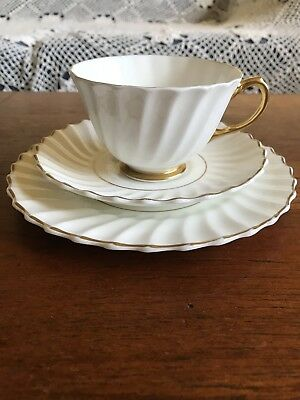 Stunning Vintage Royal Doulton Trio High Tea Made in England White and Gold