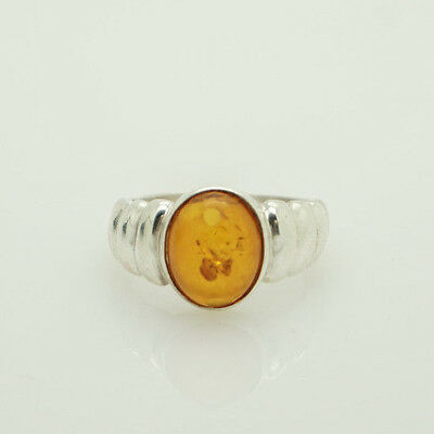 fd9250d792581 SOLID VINTAGE STERLING Silver/925 Oval Baltic Amber Cocktail Ring 5.5