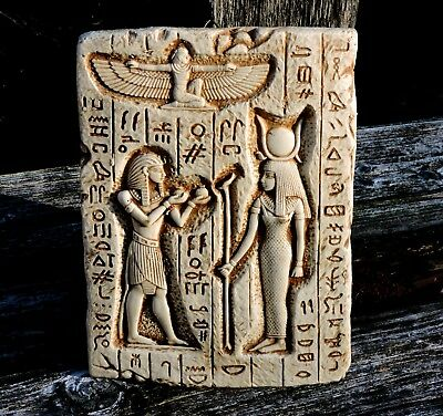 Offerings to the Goddess HATHOR 18th Dynasty Egyptian Pharaoh Tomb Wall Plaque