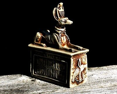 Egyptian Jackal God ANUBIS On Altar Hand Carved Stone Bas Relief Sculpture