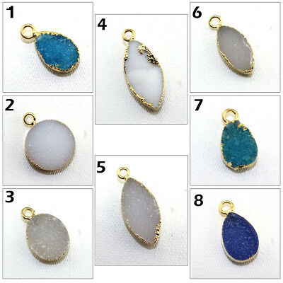 Charming Natural Agate Druzy 24k Gold Pated Connector Making Designer Jewelry