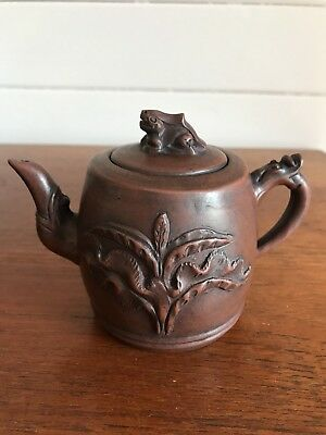 Vintage Authentic Chinese Small Yixing Clay Teapot Stamped To Base Frog Handle