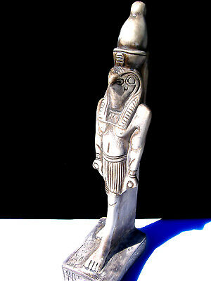 Egyptian Falcon Bird God Horus Ra Vintage Statue Hand Carved Stone Ivory Color