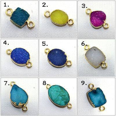 Double Bail Natural Agate Druzy 24k Gold Pated Connector DIY Jewelry Findings