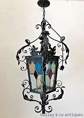Antique French Lantern Leadlight Stained Glass Wrought Iron Chandelier - PQ558