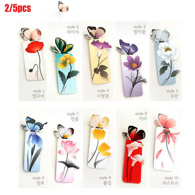 5Pcs Beautiful Butterfly Kraft Bookmarks for Books Markers Holder Gifts