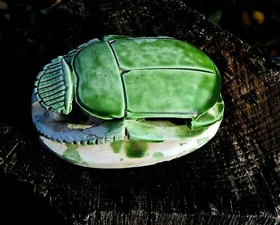 Egyptian Vintage Faience Green Glaze Statue Hand Carved Scarab Stone Sculpture