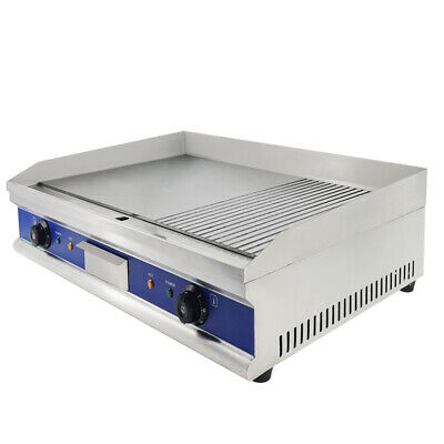 4400W Commercial Electric Griddle Flat & Groove Grill BBQ Kitchen Large Hotplate