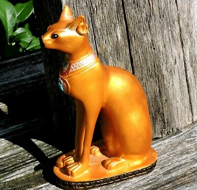 LARGE Gilded Vintage Bastet Egyptian Cat Goddess Statue Gold Paint Sculpture