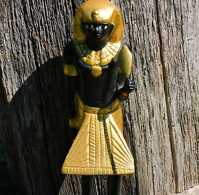 Antique Gilded Gold Wood Egyptian Guardian Replica Statue Sculpture King Tut