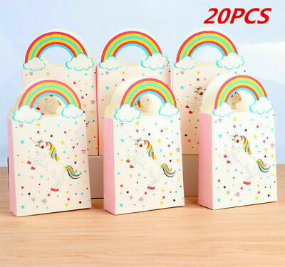 20X Unicorn Paper Gift Party Loot Bags Handles Wedding Birthday Gift Favous Box
