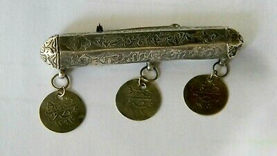 Antique - Silver - Amulet - Islamic Prayer Box / Koran Scroll Container - Brooch