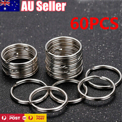 60PCS Stainless Steel Key Holder Split Scuba Rings Keyring Keychain Keyfob 25mm
