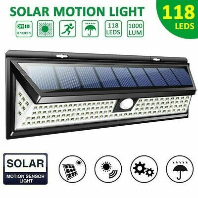 1 2 4PCS 118 LED Solar Powered Light PIR Motion Sensor Lamp For Outdoor Garden