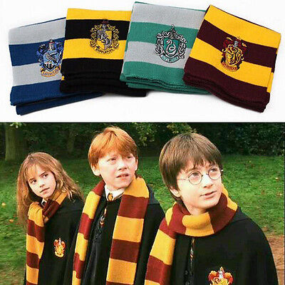 Harry Potter Gryffindor Slytherin Hufflepuff Knit Wool Scarf Wrap Cosplay Prop