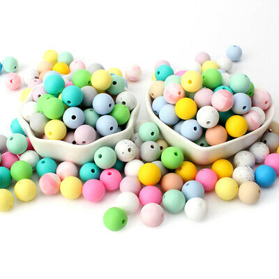 Chewable Round Silicone Teething Beads DIY Baby Sensory Jewelry Toys BPA Free