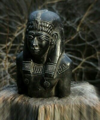 Vintage Hand Carved Solid Stone Basalt Egyptian Queen Tiye Statue Sculpture