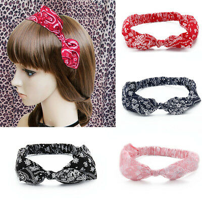 Paisley Bandana Print Cotton Fabric Bow Hair Band Stretch Head Wrap Design