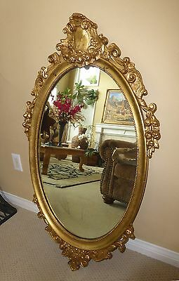 "Large 42 1/2"" Tall Vintage French Provincial Ornate Gold Gilt Oval Wall Mirror"
