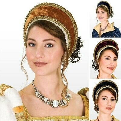 French Style Tudor Hood in Velvet with Gold Trim Ideal for Stage Costume & LARP