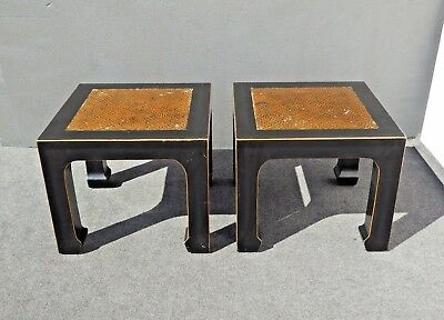 Pair Vintage Oriental Asian Black & Brown Wood End Tables by Fur Hands Co.