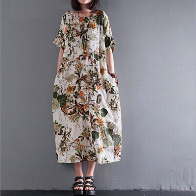 M-5XL ZANZEA Womens Summer Floral Short Sleeve Long A-lin T-shirt Dress Kaftan