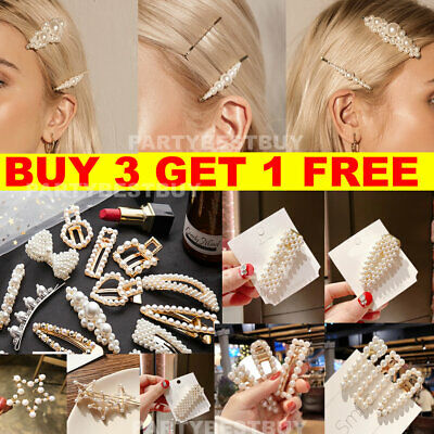 Women's Girls Pearl Hair Clip Gold Hairpin Slide Grips Barrette Hair Clips New