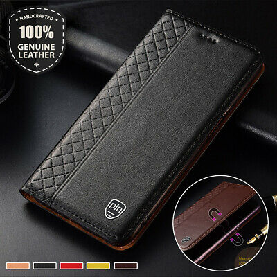 Grid Magnetic Genuine Leather Flip Case Cover For Xiaomi Mi 9 Mix 2 2s 3 F1 Play