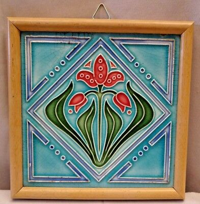 Tile Majolica Japan M G K Vintage Art Nouveau Architecture Geometric Design#428