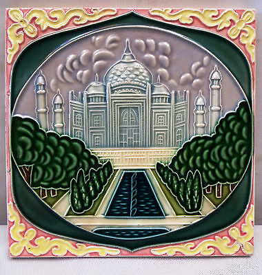 Vintage Tile Majolica Ceramic Art Nouveau Taj Mahal  Architectural Antique Tile