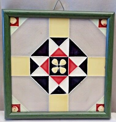 Tile Saji Majolica Japan Vintage Art Nouveau Architecture Geometric Design # 427