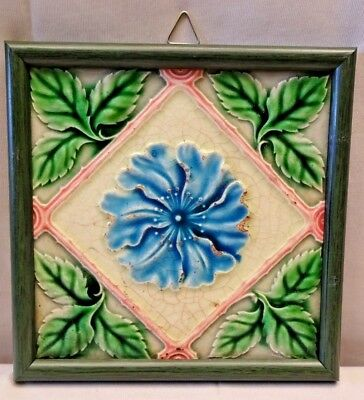 Tile Majolica Japan Vintage Art Nouveau Architecture Geometric Design Rare #423